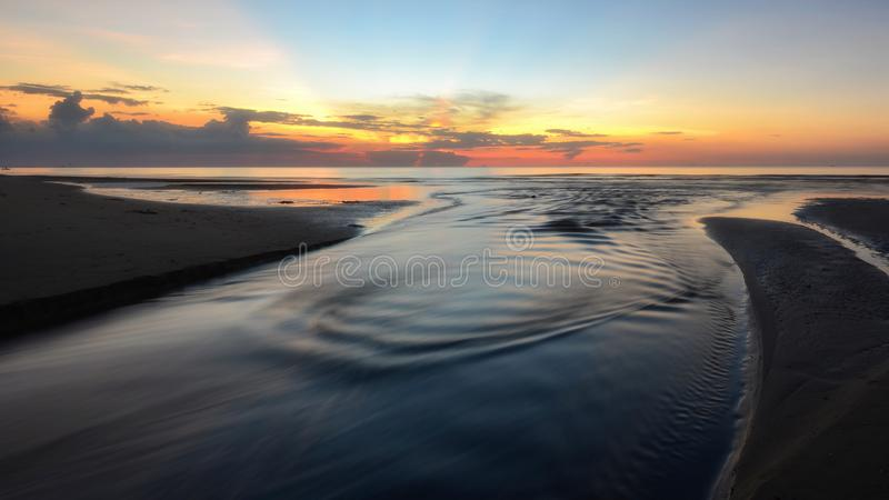 Eastern  Thailand . Long exposure shot of Beach sunset at Eastern  Thailand royalty free stock image