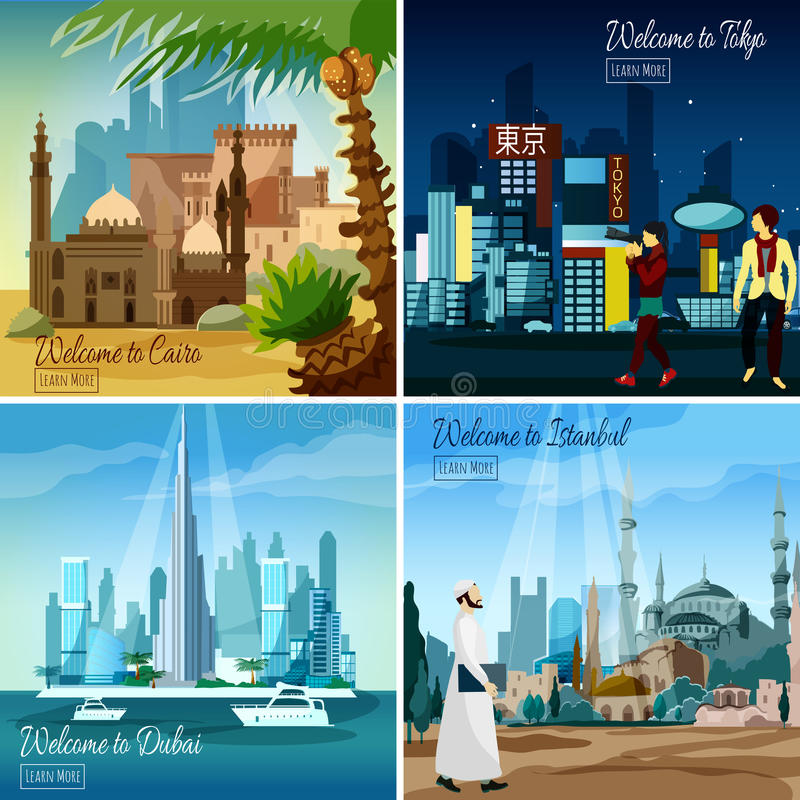 Eastern Touristic Cityscapes stock illustration