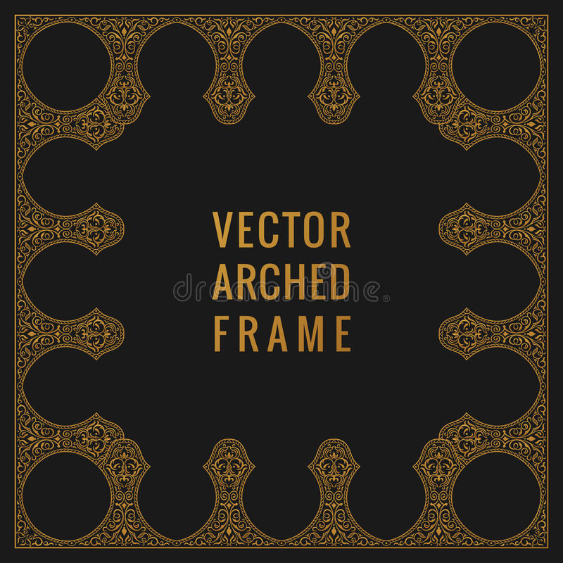 Eastern vintage arch card. Arabic ornament floral frame. Template design elements in oriental style stock illustration