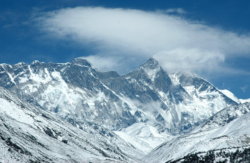 Eastern wall of Mount Everest stock image