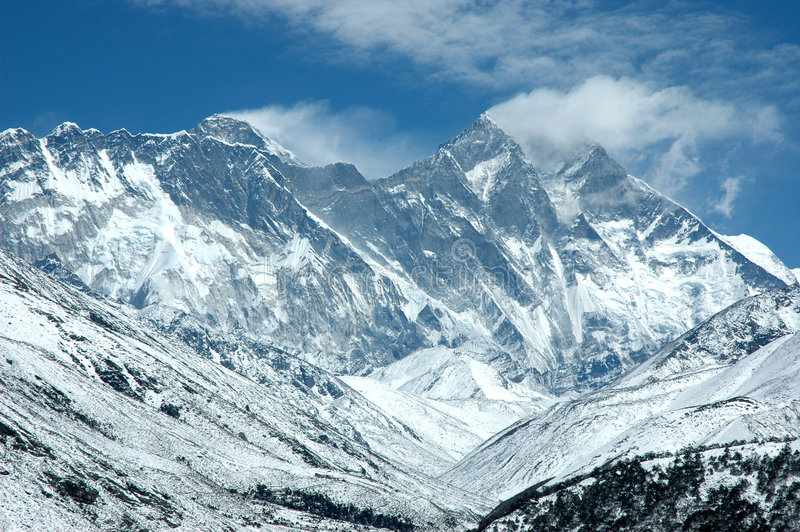 Eastern wall of Mount Everest stock photos