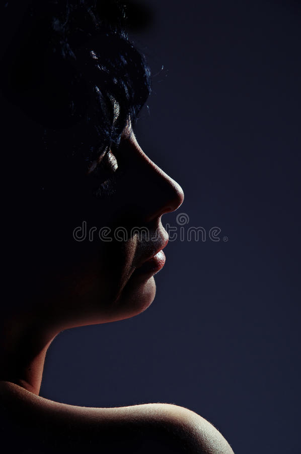 Eastern woman relax. Dreaming profile in dark royalty free stock photo