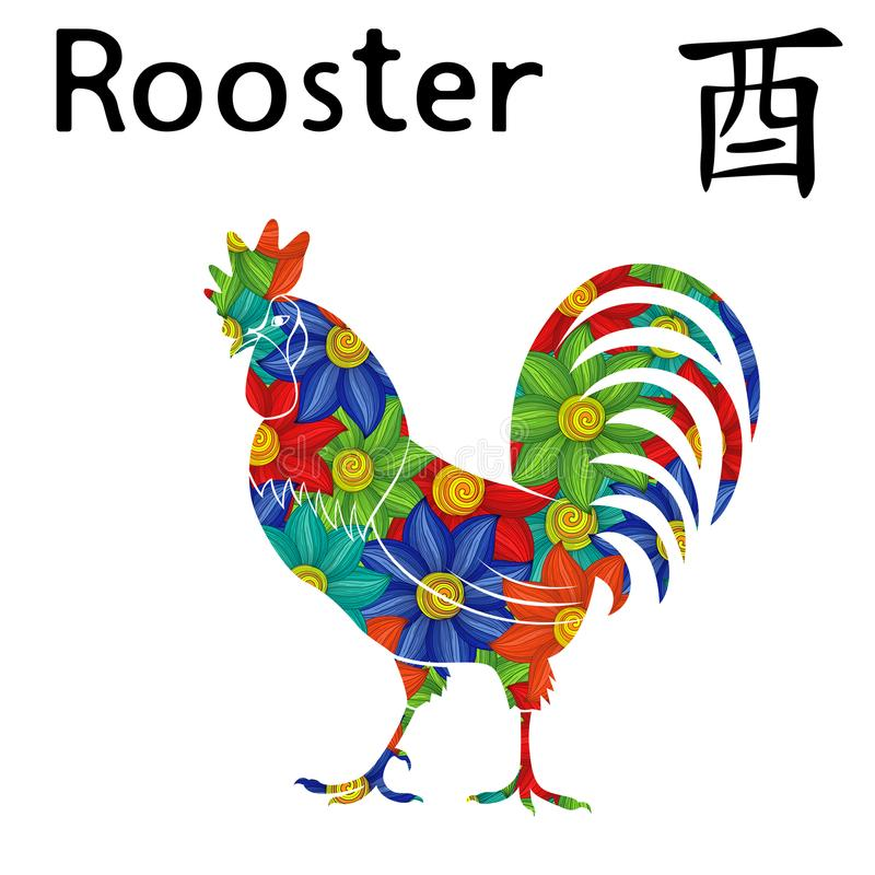 Eastern Zodiac Sign Rooster. Chinese Zodiac Sign Rooster, symbol of New Year on the Eastern calendar, hand drawn vector stencil with colorful flowers isolated on stock illustration