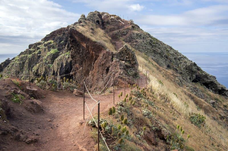Easternmost del av ömadeiran, Ponta de Sao Lourenco, Canical stad, halvö, torrt klimat arkivbilder