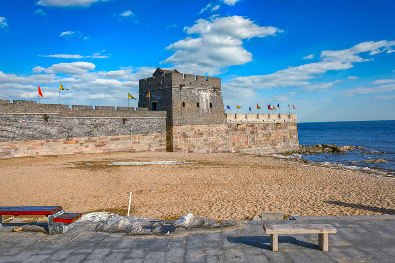 Easternmost end of the Great Wall in Laolongtou, near Shanhaiguan. royalty free stock photography