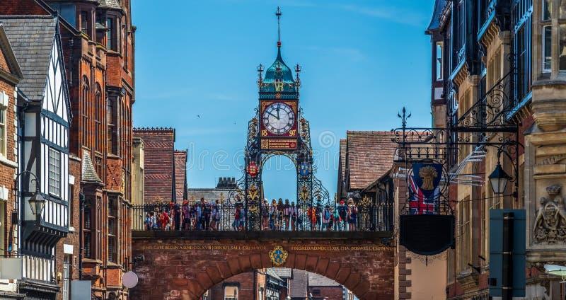 Eastgate和Eastgate时钟,彻斯特,英国 免版税库存照片