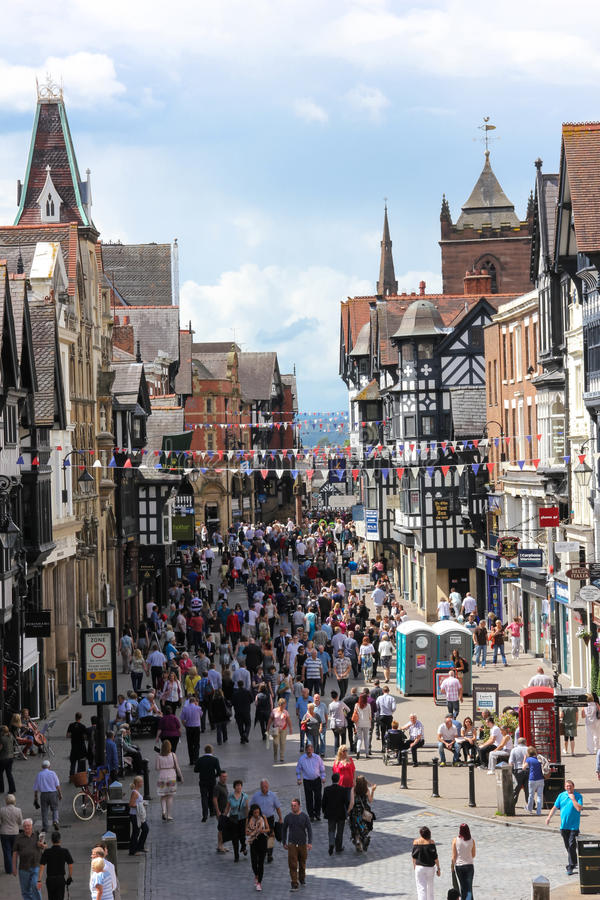 Eastgate street. Chester. England royalty free stock photos