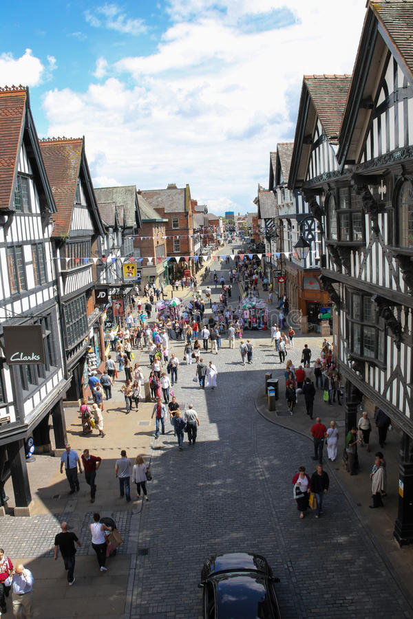 Eastgate street towards Foregate street. Chester. England royalty free stock images