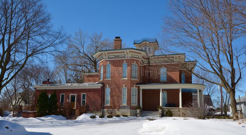 Eastside of Marsh House. This is a Winter picture of the William W. Marsh House in Sycamore, Illinois. The house is an example of the Italianate style of stock photos