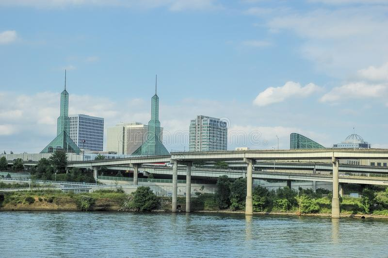 Eastside of Portland, Oregon`s 2005 Skyline. On the eastside of the Willamette River, Portland, Oregon`s daylight skyline which include the Convention Centers stock image