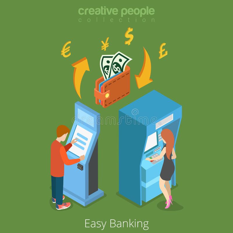 Easy bank business finance money flow 3d concept. Banking terminal ATM wallet currency exchange. Flat isometric isometry conceptual vector web site stock illustration