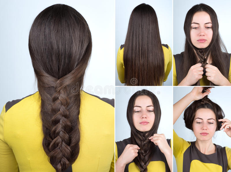 Download Easy Braid Hairstyle Tutorial Stock Photo   Image Of Hairdo,  Beauty: 82524748
