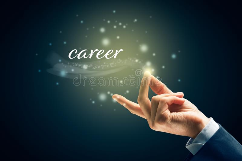 Easy career concept. To has career is easy as snap fingers. Magic of career concept royalty free stock photo