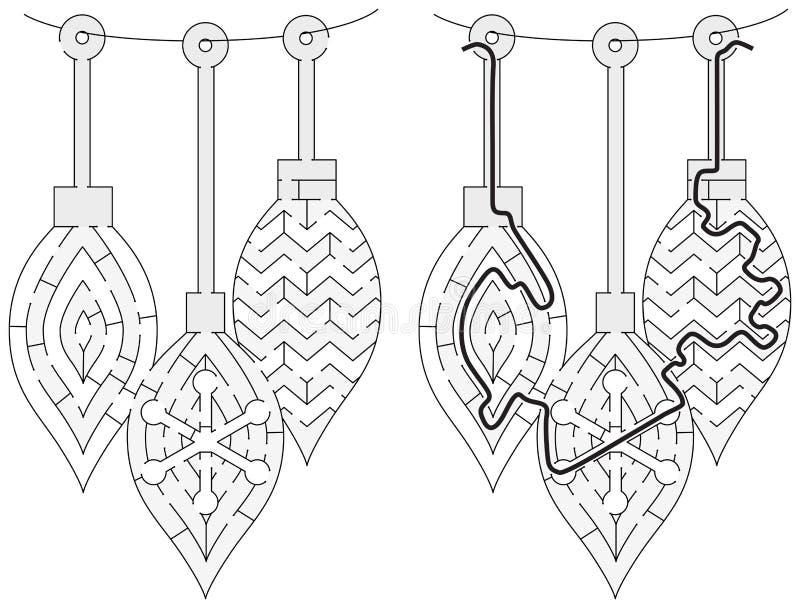 Easy Christmas ornament maze vector illustration