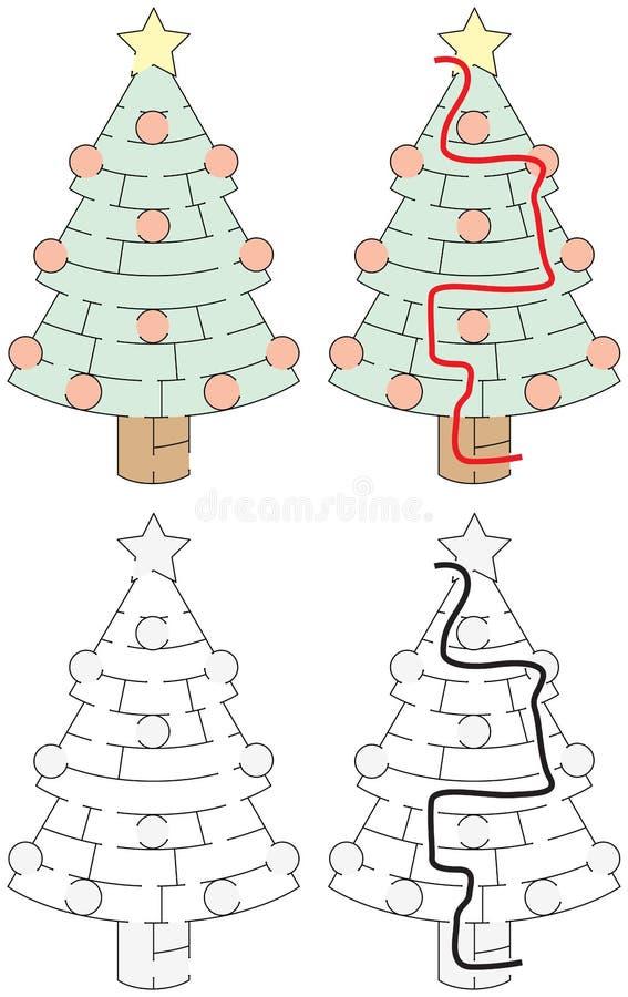 Easy Christmas tree maze vector illustration