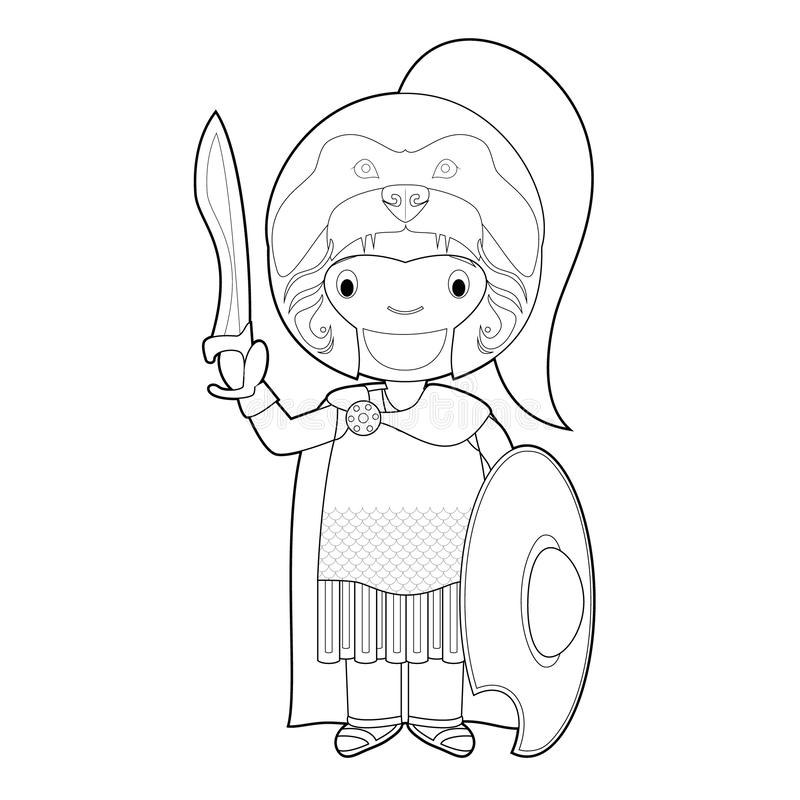 Easy coloring Alexander the Great cartoon character. Vector Illustration stock illustration