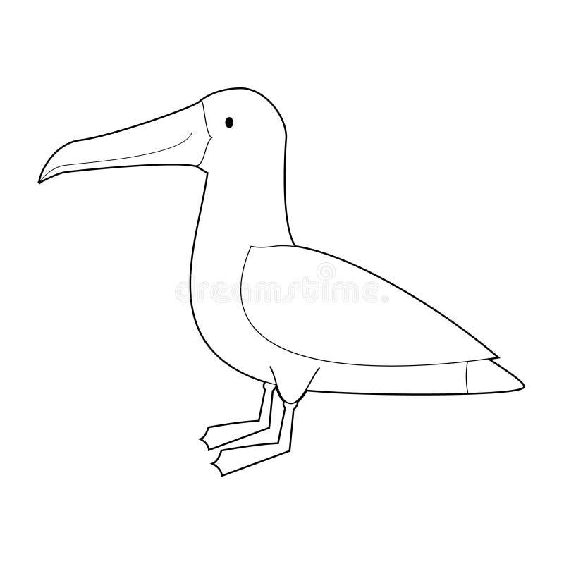 Easy Coloring Animals for Kids: Albatross. Easy Coloring drawings of animals for little kids: Albatross stock illustration