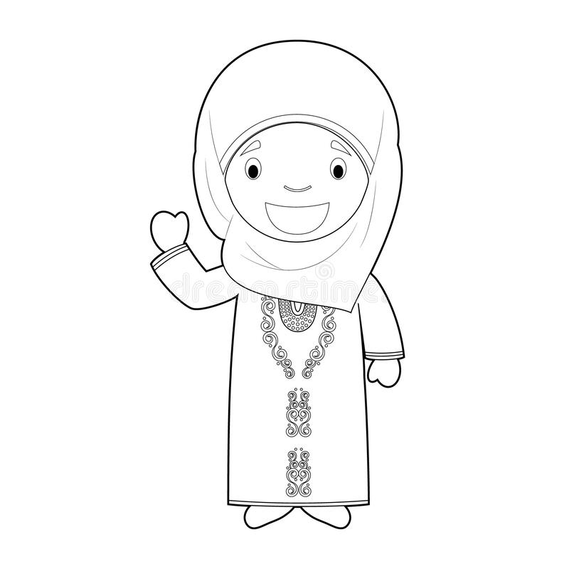 Easy coloring cartoon character from Bahrain dressed in the traditional way Vector Illustration vector illustration
