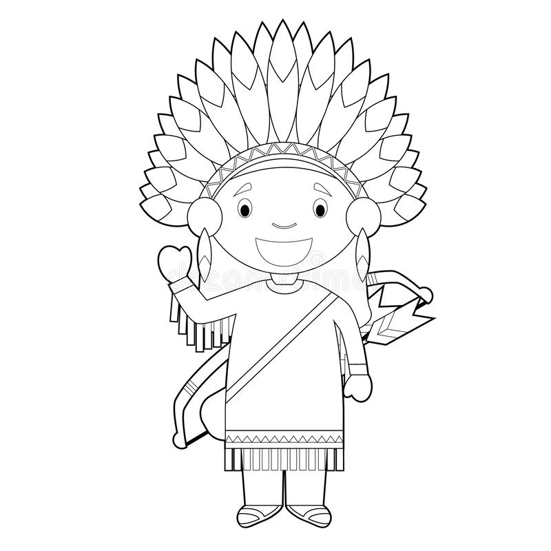 Easy coloring cartoon character from USA dressed in the traditional way of the American Red Indians. Vector Illustration royalty free illustration