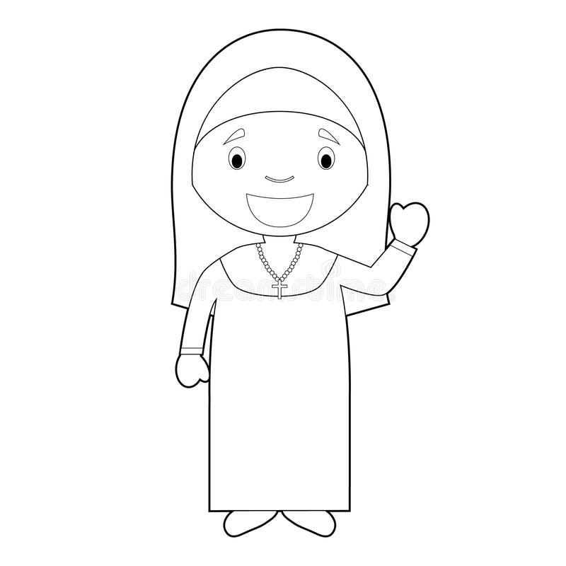 Easy coloring cartoon vector illustration of a nun. Professions for Coloring Series royalty free illustration
