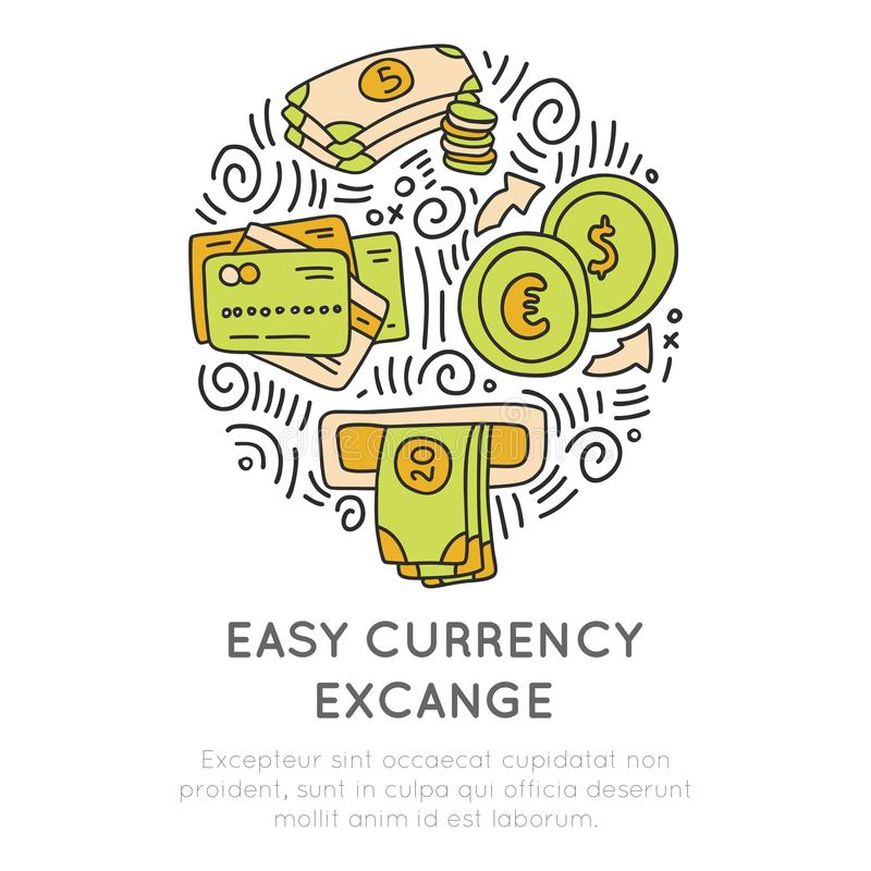 Easy currency excange in travel icon concept. Vector hand draw cartoon icon about money, coins, atm and credit card royalty free illustration