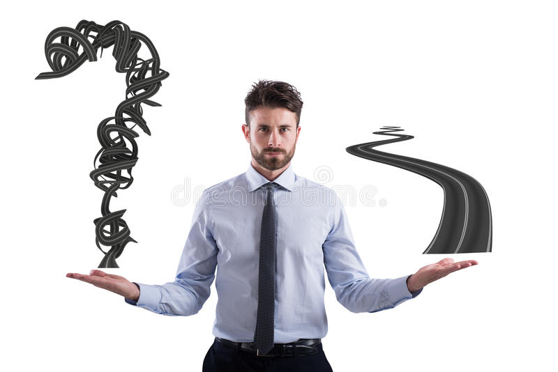 Easy and difficult way for business career. Businessman compares a winding road to a straight road stock image