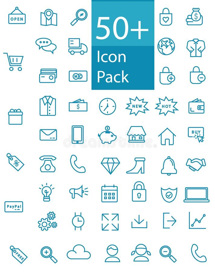 More than fifty Line Web, office, and business Icon Pack. Easy edit More than fifty Flat Line Web, office, and business Icon Pack royalty free illustration