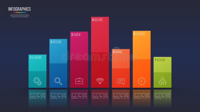 Easy editable vector 7 options infographic design, bar chart, pr. Esentation template. Global swatches royalty free illustration