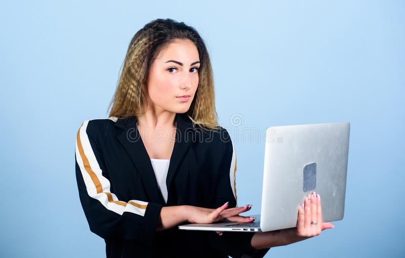 Easy and fast. woman work using computer. agile business. girl shopping on cyber monday. happy student study online. new. Technology in modern life. blogging royalty free stock image