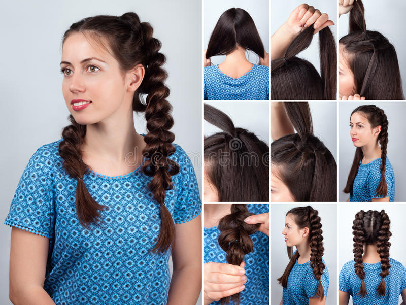Download Easy Hairstyle Braids For Long Hair Tutorial Stock Image   Image  Of Tutorial, Hairstyle