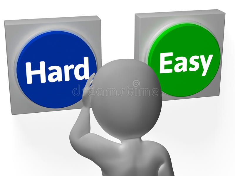 Easy Hard Buttons Show Challenge Or Difficulty. Easy Hard Buttons Showing Challenge Or Difficulty vector illustration