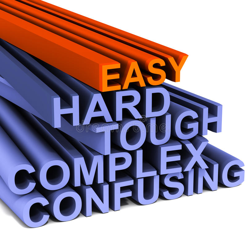 Easy hard and tough. Words related to different challenging levels with easy on top, concept of ease of use, or easy to do tasks royalty free illustration