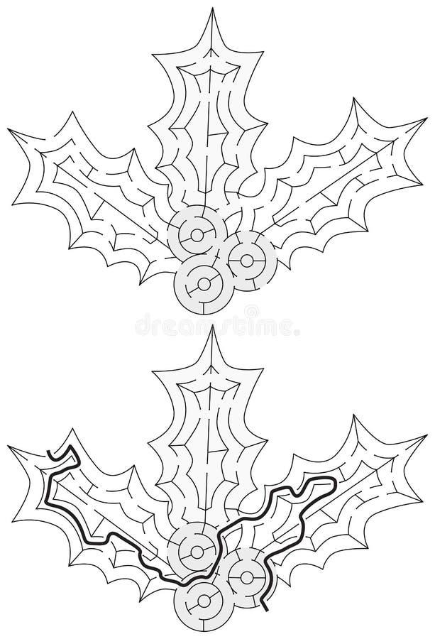 Easy holly maze stock illustration
