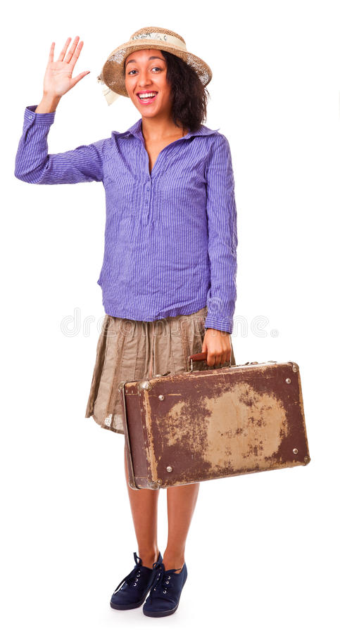 Easy Latin American Girl Travels. Retro. Stock Photo