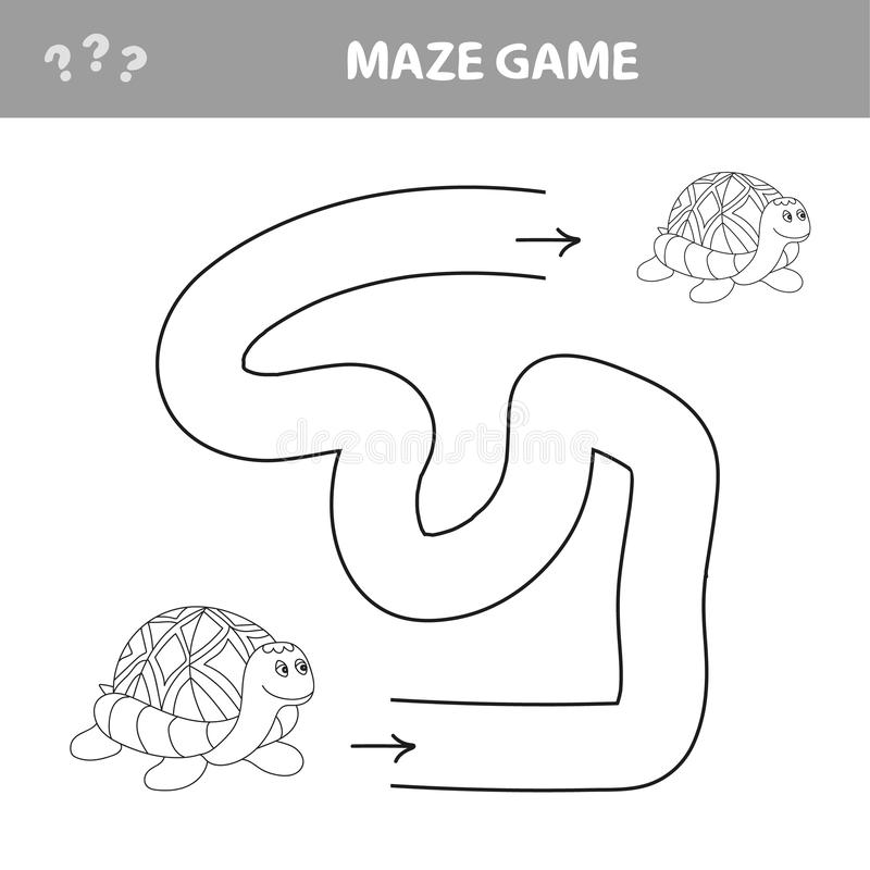 Easy maze for younger kids with a turtle stock image