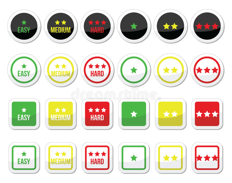 Easy, medium, hard level with stars icons set. Vector icons set - star rating, different levels of difficulty on white stock illustration
