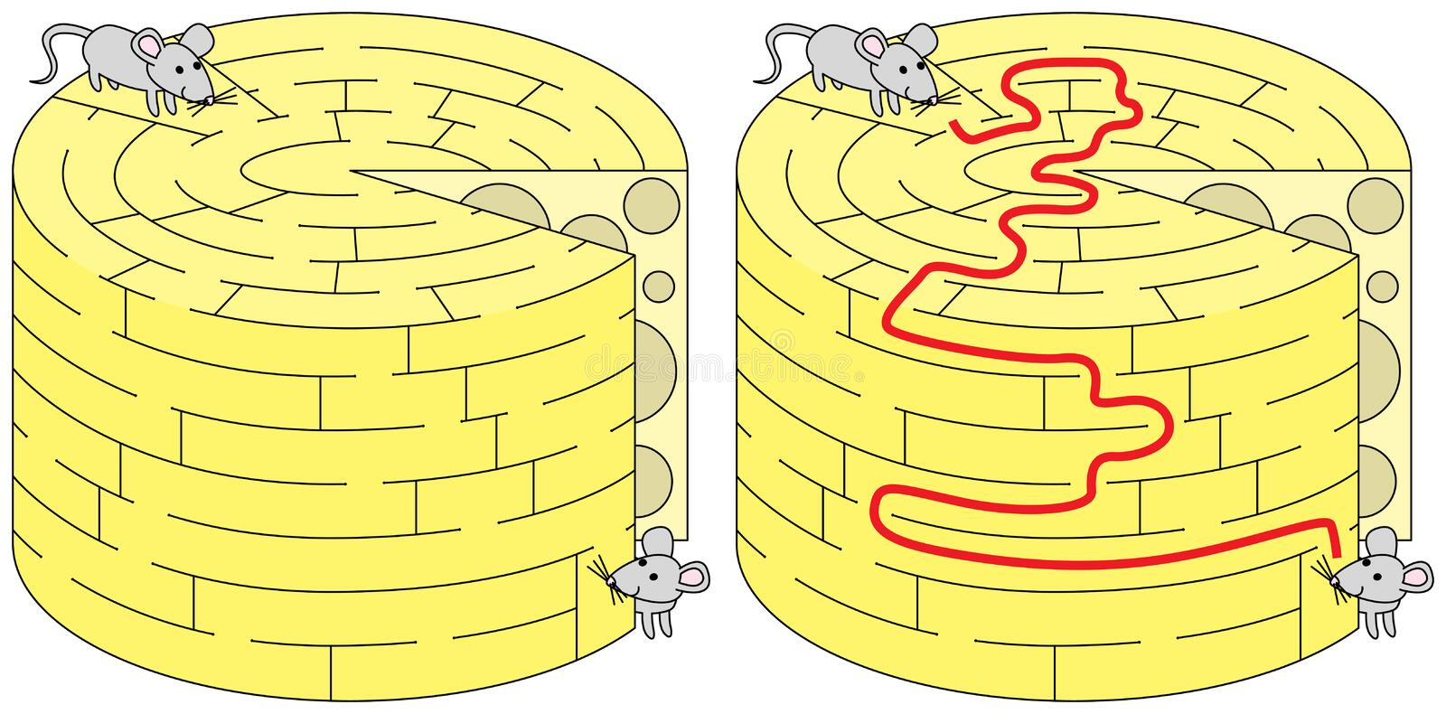 Easy mice maze. For younger kids with a solution vector illustration