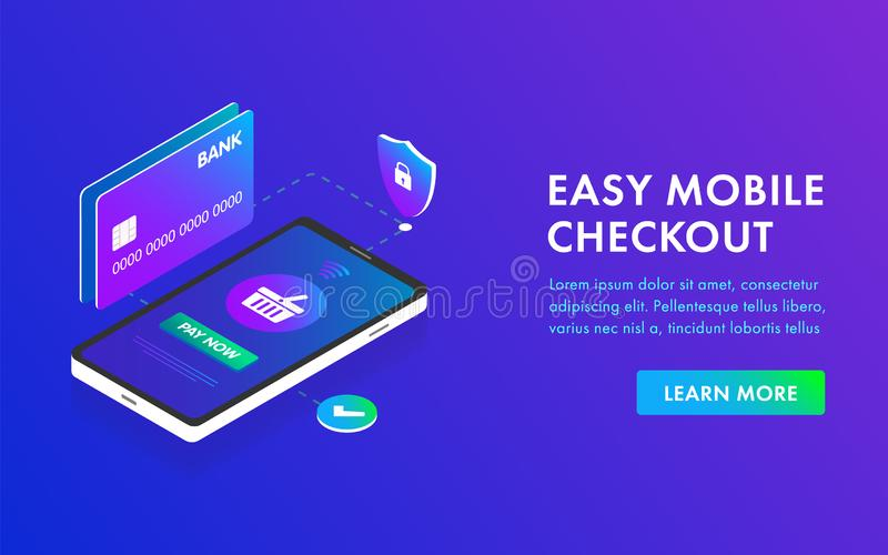 Phone and Bank card Isometric 3D concept image easy payment flat design template, landing page, header and banner. Easy mobile payment flat Vector Isometric 3D royalty free illustration