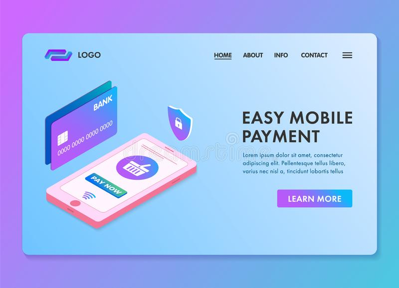 Easy mobile payment isometric 3d web template for landing page or banner. Smartphone safe, secure and easy e-payments. With atm bank card concept vector illustration