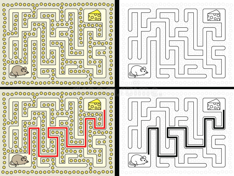 Easy mouse maze. For younger kids with a solution in color and in black and white stock illustration