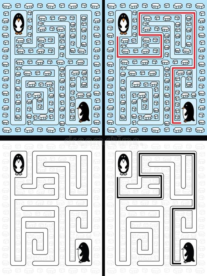 Easy penguin maze stock vector. Illustration of worksheet - 68781899