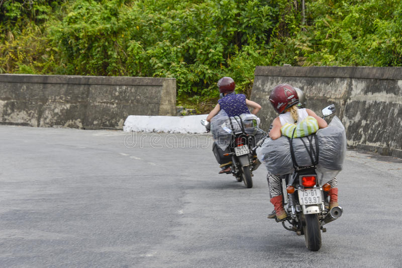 Easy Riders, Vietnam. Tourists on motorbikes with easy riders who bring them by motorbike from one destination to another in Vietnam. The easy riders are very royalty free stock photography