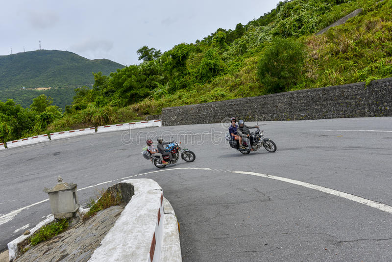 Easy Riders, Vietnam. Tourists on motorbikes with easy riders who bring them by motorbike from one destination to another in Vietnam. The easy riders are very stock images