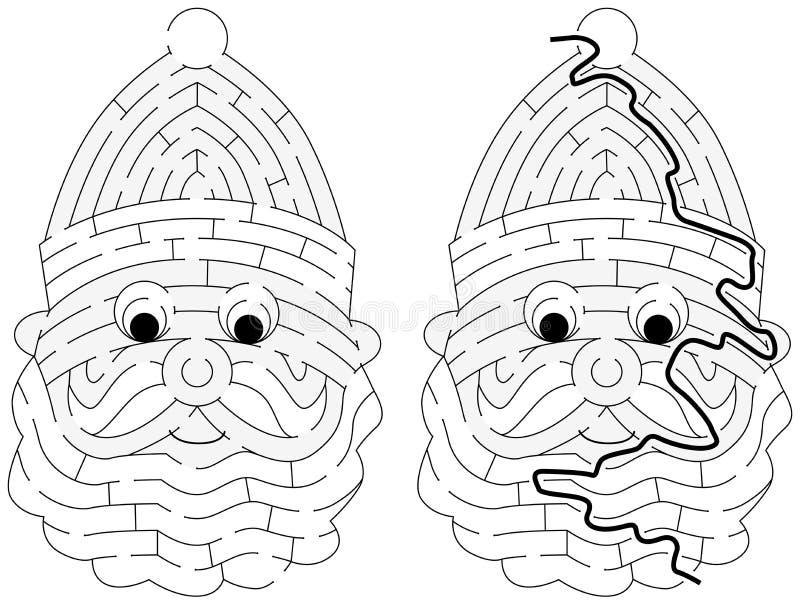 Easy Santa Claus maze royalty free illustration