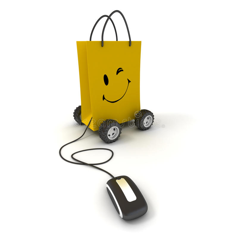 Easy shopping online. Winking and smiling yellow shopping bag on wheels connected to a computer mouse stock illustration