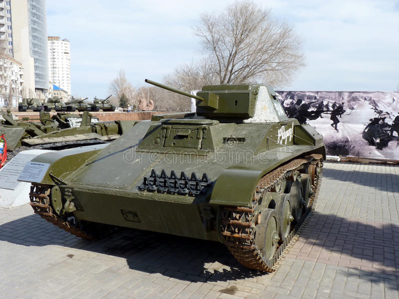 The easy Soviet T-60 tank. Of times of World War II with an inscription For the Homeland! at the museum - a panorama of the Battle of Stalingrad stock image
