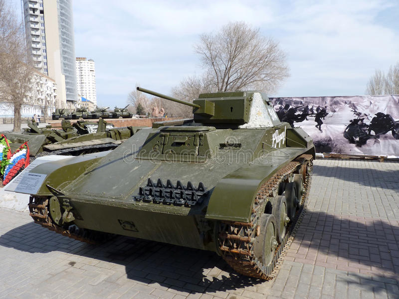 The easy Soviet T-60 tank. Of times of World War II with an inscription For the Homeland! at the museum - a panorama of the Battle of Stalingrad royalty free stock photography