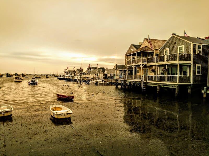 Easy Street Boat Basin on Nantucket, Massachusetts at golden hour royalty free stock photos