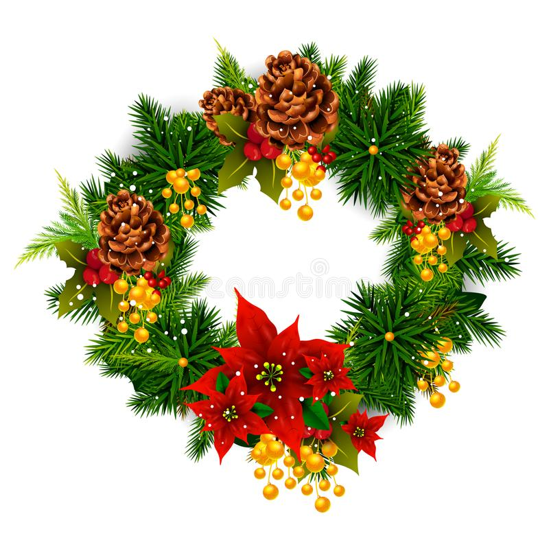 Wreath decoration for Happy New Year and Merry Christmas greeting stock illustration