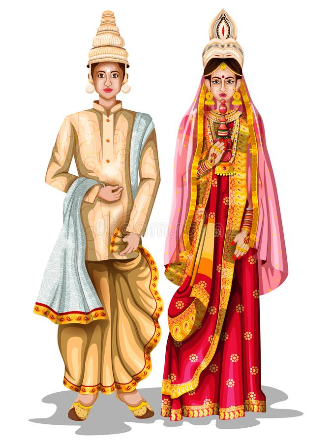 Bengali wedding couple in traditional costume of West Bengal, India vector illustration